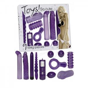 Set med sexleksaker i hela 9 delar i läcker lila färg.