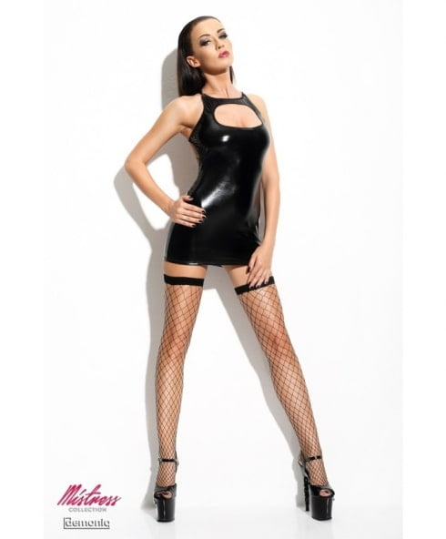 Wetlook klänning från Demoniq i elastiskt material med band i ryggen!