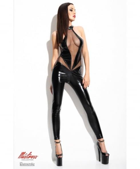 Catsuit i läcker svart wet look med öppen rumpa och helt perfekt passform!