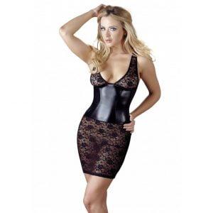 Kort klänning i svart färg med spets och opak insert i wetlook. Tight skuren!