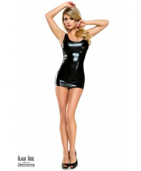 Demoniq Veronique 1 är trosor % miniklänning i wetlook med silverkedjor!