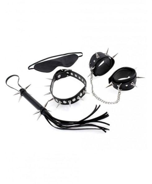 Fetish Fantasy Series bondage-kit med bl.a. läderbojor, ögonmask & piska!