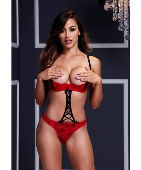 Snygg bodysuit i färgerna röd och svart - Red Strappy One-Size!